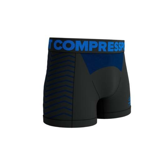 Compressport SEAMLESS BOXER - fekete varrásmentes férfi sportalsó