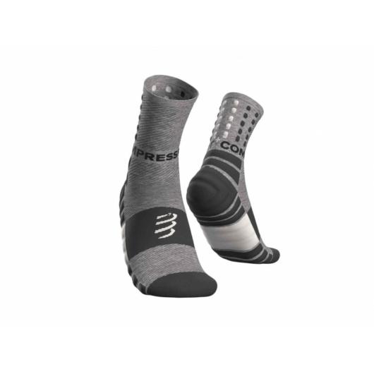 Compressport Shock Absorb socks, szürke - férfi futózokni T1